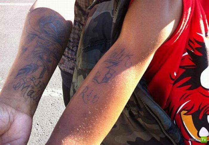 Десятилетний ребенок с татуировкой