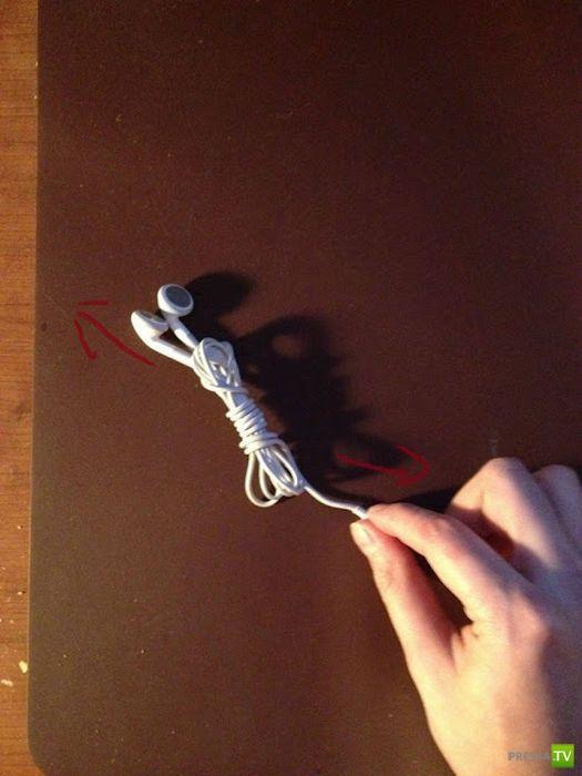 Как свернуть наушники, чтобы они не запутывались. Данный метод спасет тысячи нервных систем (10 фото)