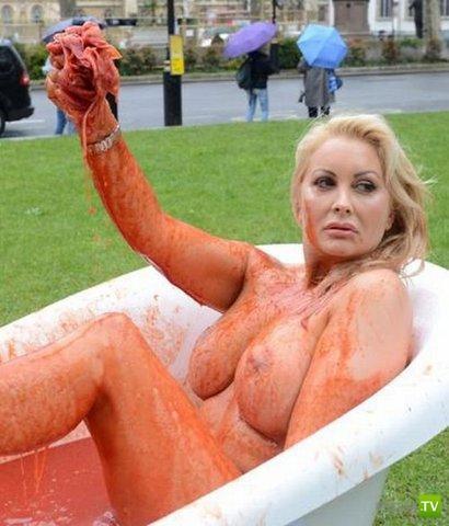 Playboy-модель разделась на Парламентской площади Лондона (6 фото)