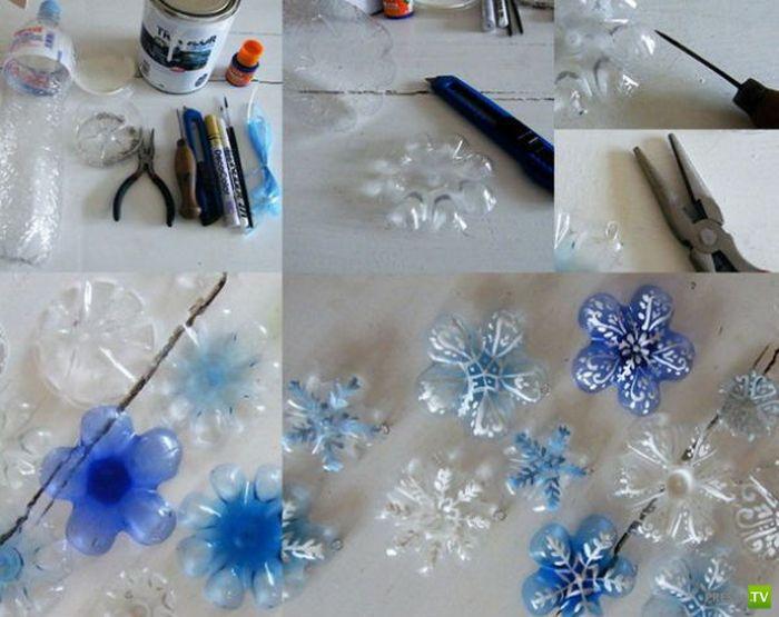 Снежинки из прищепок своими руками