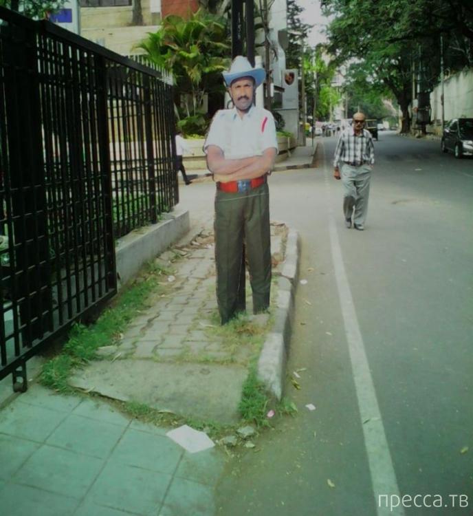 В Индии недостающих гаишников вырезали из картона (3 фото)