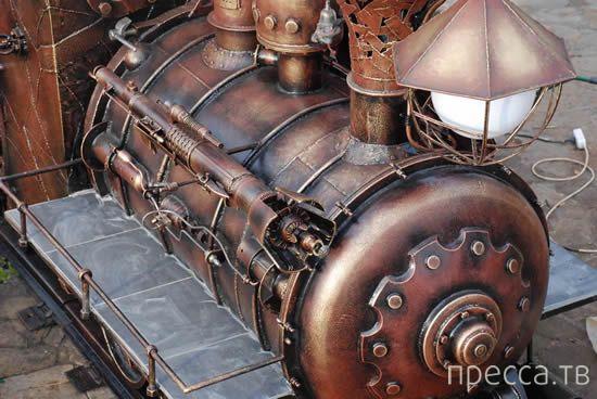 Огромный гриль в виде стимпанк-паровоза (4 фото)