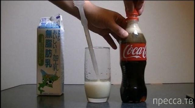 Необычная реакция колы на молоко (13 фото)