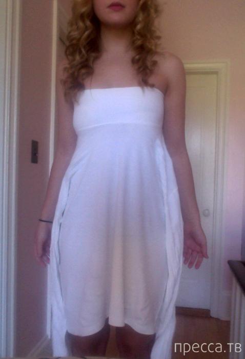 Из растянутой футболки - платье (10 фото)