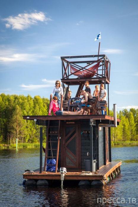 Плот для путешествий с сауной на борту (7 фото)