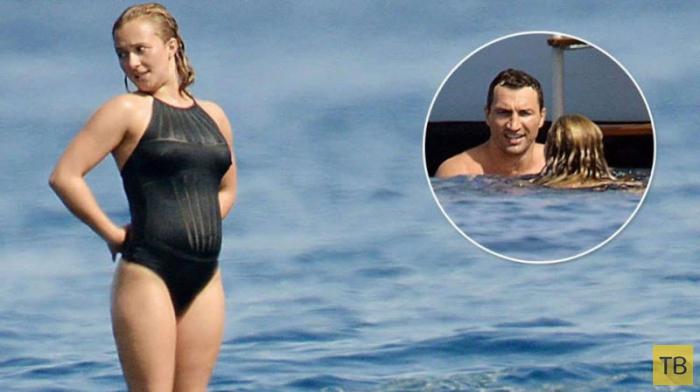 Беременная Хайден Панеттьери отдыхает с Кличко в Сан-Тропе (7 фото)