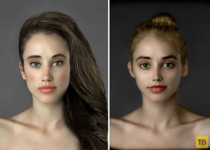 Эталон женской красоты, по мнению ретушеров из разных стран (22 фото)