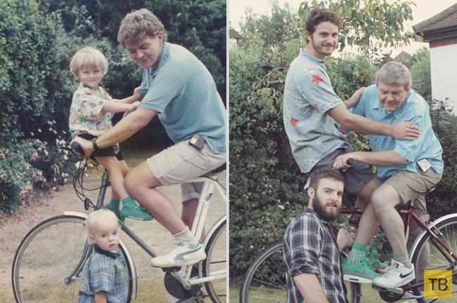 """Трогательный подарок маме - семейные фотографии """"Тогда и сейчас"""" (10 фото)"""