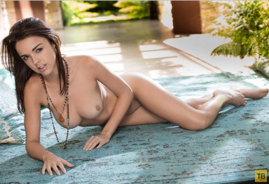 Миниатюрная брюнетка с красивой грудью (14 фото)