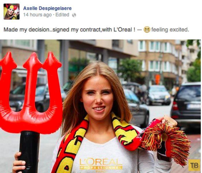 Бельгийская болельщица получила модельный контракт (20 фото)