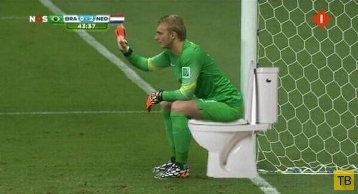 Забавная фотожаба на снимок вратаря сборной Голландии (9 фото)