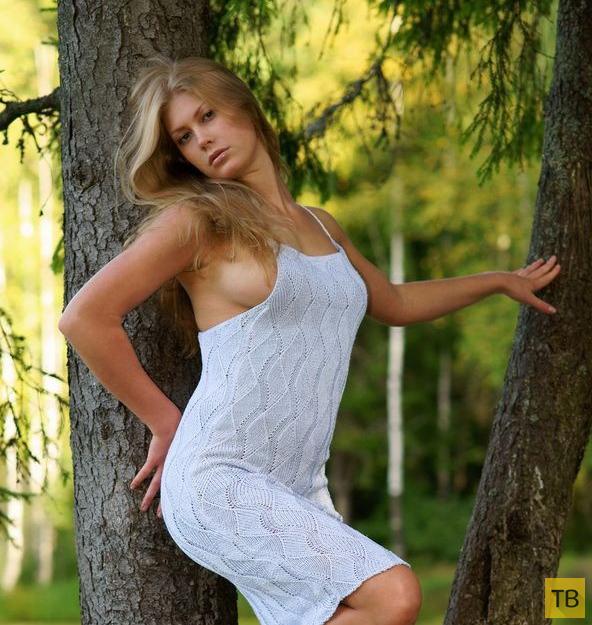 Красивая длинноволосая блондинка в лесу (20 фото)