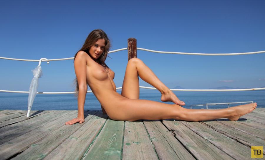 Красотка на палубе принимает солнечные ванны (15 фото)