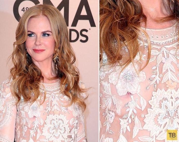47-летняя Николь Кидман показала грудь под полупрозрачным платьем (17 фото)