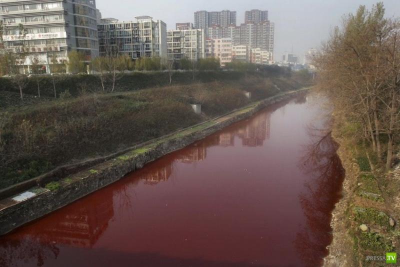 Кровавая река в провинции Хенань, Китай (3 фото)