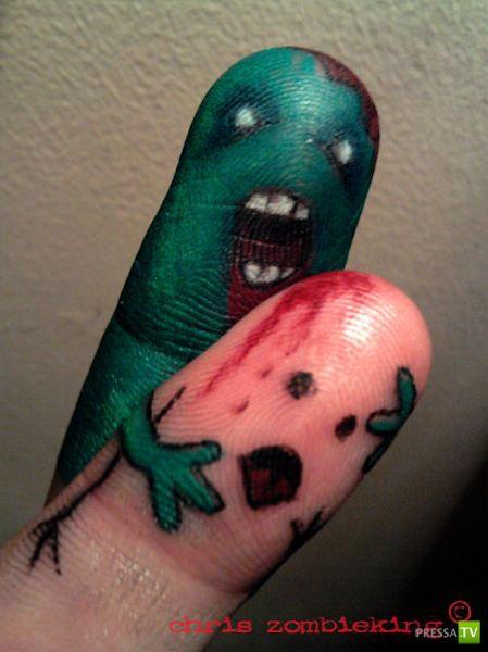 Смешные рисунки на пальцах (15 фото)
