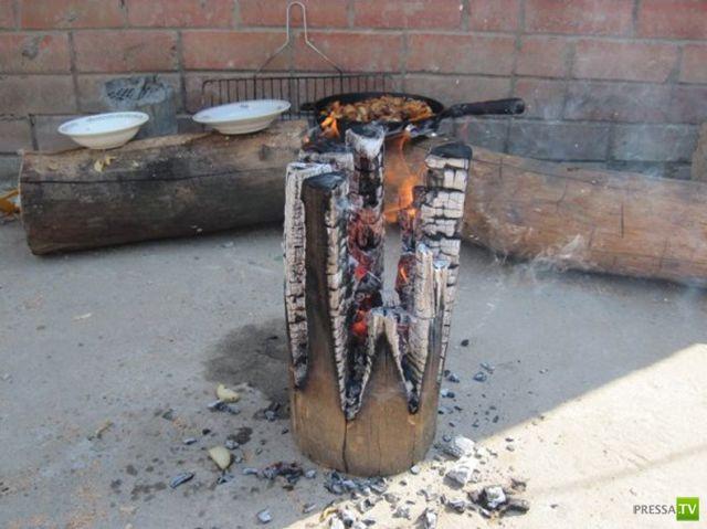Как сделать плиту из полена (10 фото)