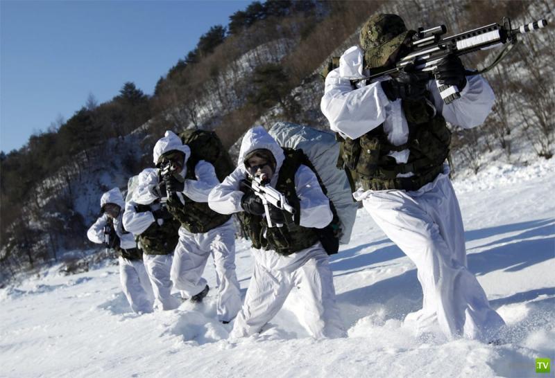 Зимние учения спецназа южнокорейской армии в Пхенчхане (8 фото)