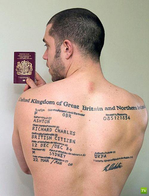 Тату ввиде паспорта