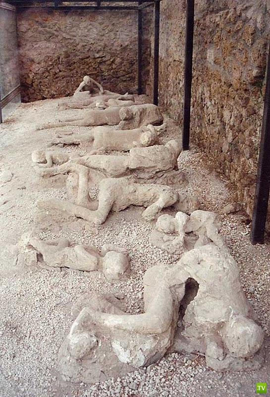 Окаменелые жертвы извержения Везувия