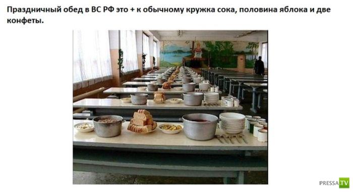 Сравнительный обед российских и американских солдат ..