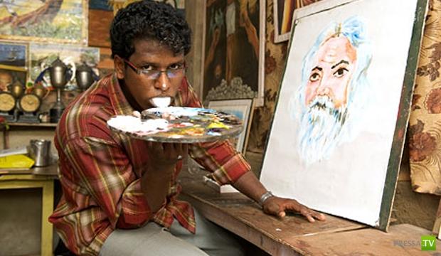 Индийский художник Ани К пишет картины языком (фото + видео)