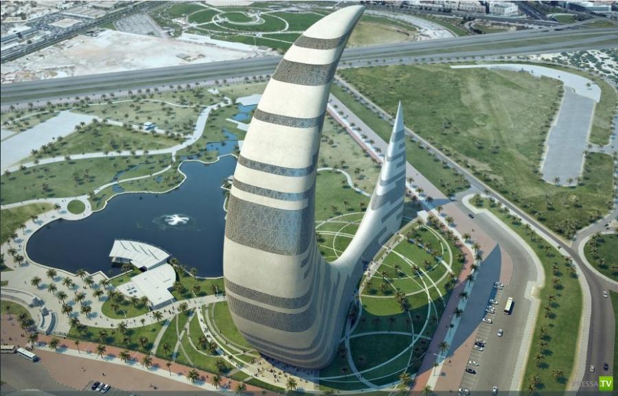 Небоскреб в виде полумесяца в Дубае (4фото)