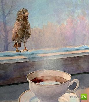 Кофе, снег и воробьи