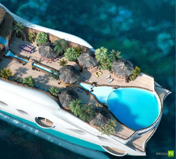 Рай в океане - яхта-остров (11 фото)