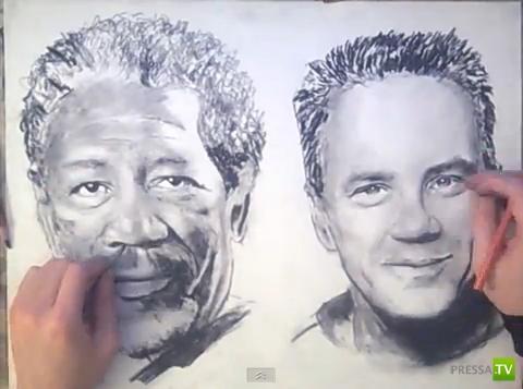 Необычный художник - рисует одновременно двумя руками (фото + видео)