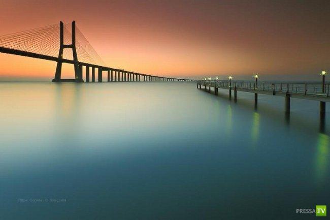 Мост Васко да Гама - самый длинный в Европе (13 фото)