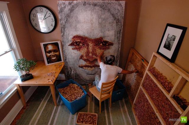 Портреты из винных пробок (5 фото)