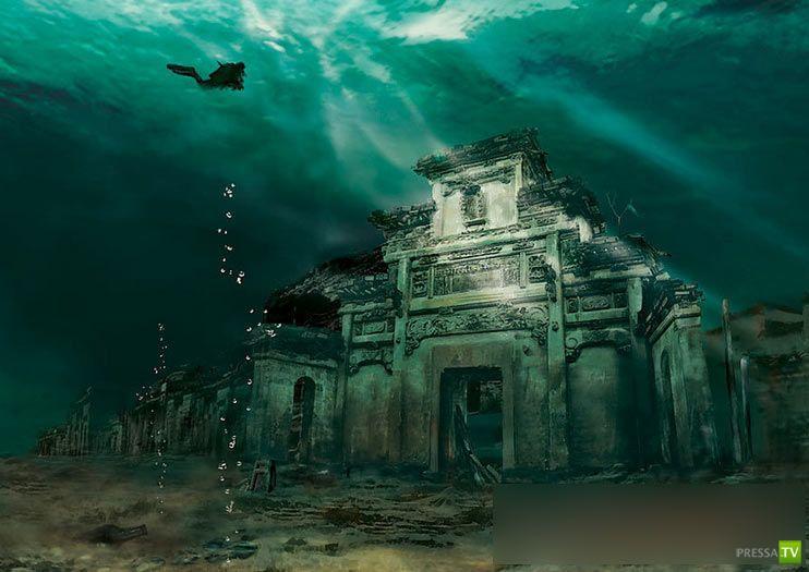 На дне озера Цяньдаоху в Китае нашли руины древних городов (13 фото)