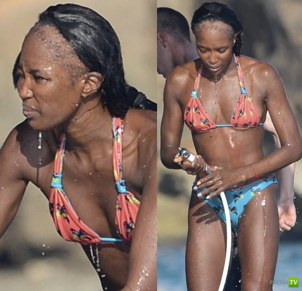 У Наоми Кэмпбелл проблемы с волосами... (9 фото)