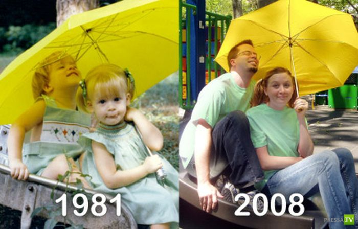 """Прикольные фотографии """"В детстве и сейчас"""" (38 фото)"""