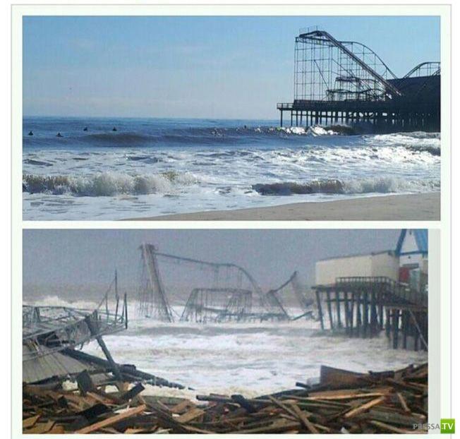 """Последствия урагана """"Сэнди"""" """"до и после"""" (22 фото)"""