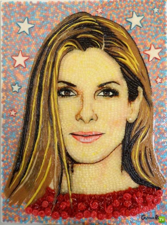 Портреты знаменитостей из конфет (16 фото)