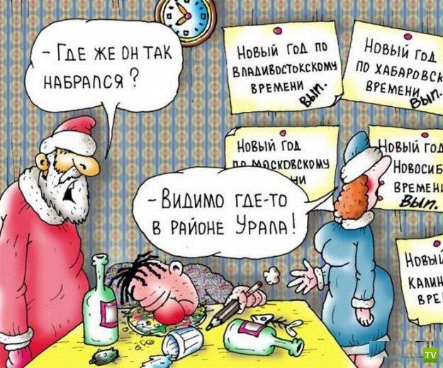 Смешные Новогодние карикатуры (22 фото)