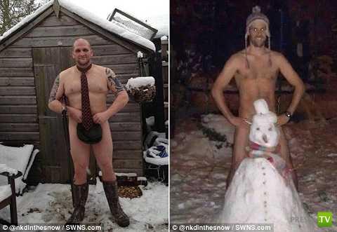 Позирование голыми в снегу - новая мода в Интернете (13 фото)