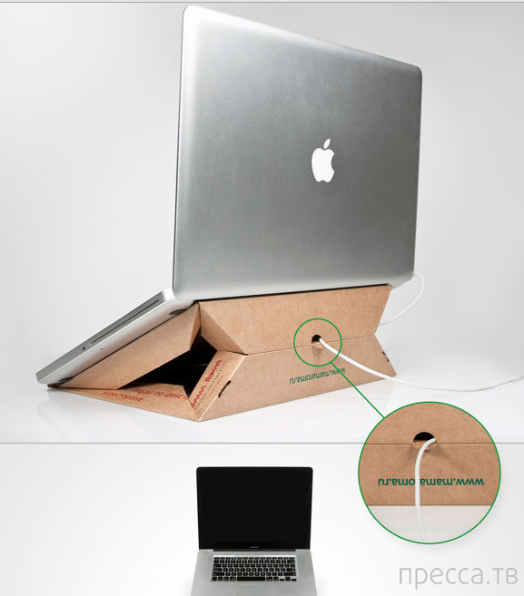 Подставка для ноутбука из коробки для пиццы (8 фото)
