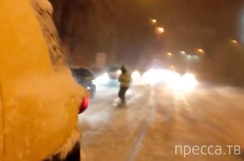 Сноуборд в заснеженном Киеве...