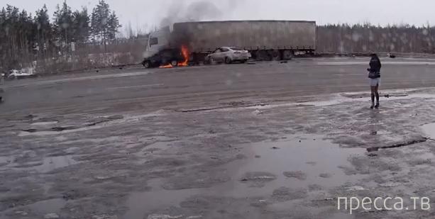 """Три человека в """"Шевроле"""" сгорели заживо...  Страшное ДТП в Нижегородской области. Жесть!!!"""