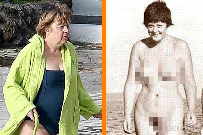 Ангела Меркель - молодая и голая (2 фото)