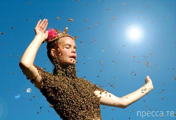 Американка Сара Мапелли медитирует с пчелиным роем на теле (2 фото + 2 видео)