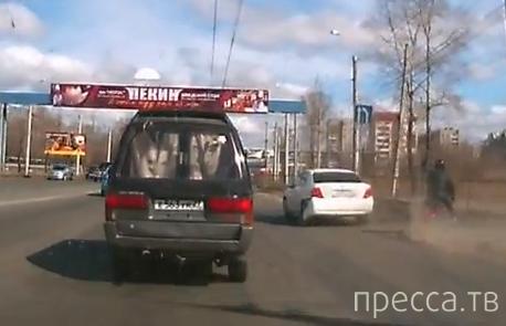 Axio подбил мопидиста при обгоне... ДТП в Хабаровске