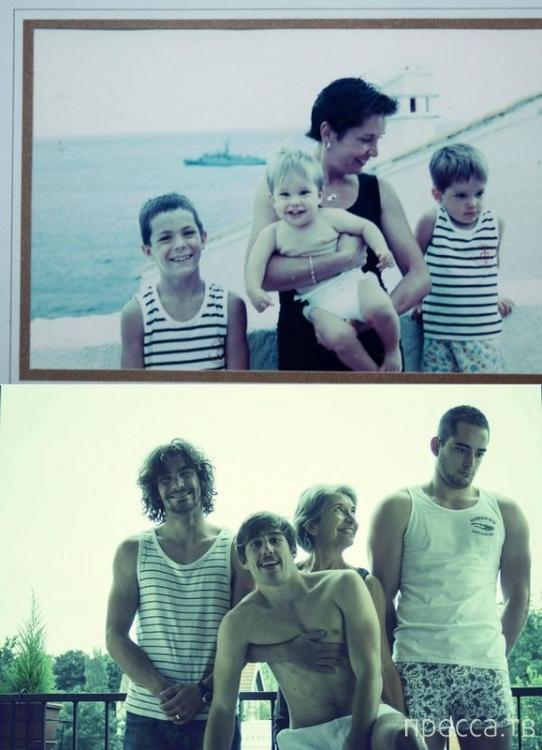 Семейные фотографии тогда и сейчас (21 фото)