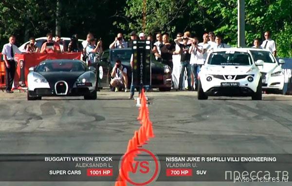 Nissan Juke-R против Bugatti Veyron (фото + видео)