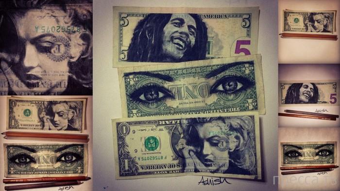 Удивительные портреты карандашом на долларовых купюрах (7 фото)