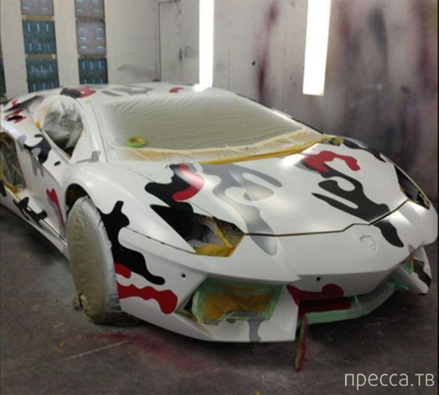 Причуды: перекрасил суперкар Lamborghini Aventador в стиле любимых кроссовок (7 фото)