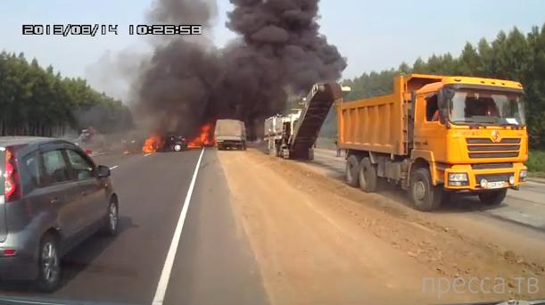 Два человека сгорели заживо... Жуткое ДТП в Тамбовской области. Жесть!!!